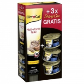 Набор Gimcat Multi-Vitamin Paste, 100гр + 3 консервы ShinyCat filet фото